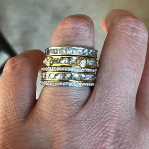 Henry Bendel two tone gold/silver stack ring